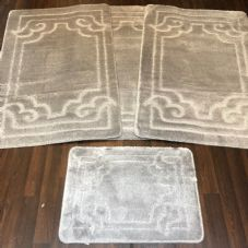ROMANY WASHABLES GYPSY MATS 4PC SETS NON SLIP GERMAN BOARDER DESIGN SILVER GREY